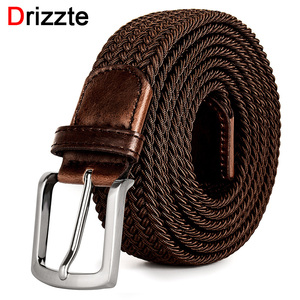 Image 1 - Drizzte Plus Size 130 150 160 170 180 190cm Brown Braid Woven Elastic Stretch Belt Mens for Big and Tall Man High Quality