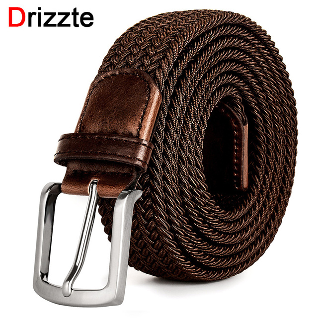 Drizzte Plus Size 130 150 160 170 180 190cm Brown Braid Woven Elastic Stretch Belt Mens for Big and Tall Man High Quality