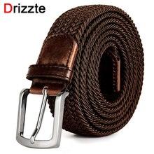 Drizzte cinturón elástico tejido para hombre, de talla grande, 130, 150, 160, 170, 180 cm, marrón, de alta calidad
