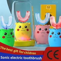 Cepillo de dientes eléctrico sónico para niños, con diseño de dibujos animados, pincel de silicona blanda, completamente automático