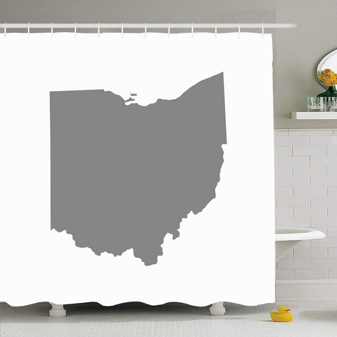 Rideau de douche ensemble avec crochets 66x72 géographie symbole carte repère nord américain état états-unis frontière Ohio Texture signes symboles Textures