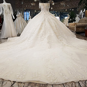 Image 2 - LS65392 ivory off shoulder sweetheart ball gown lace up back hand work wedding dresses from china robe blanche mariage