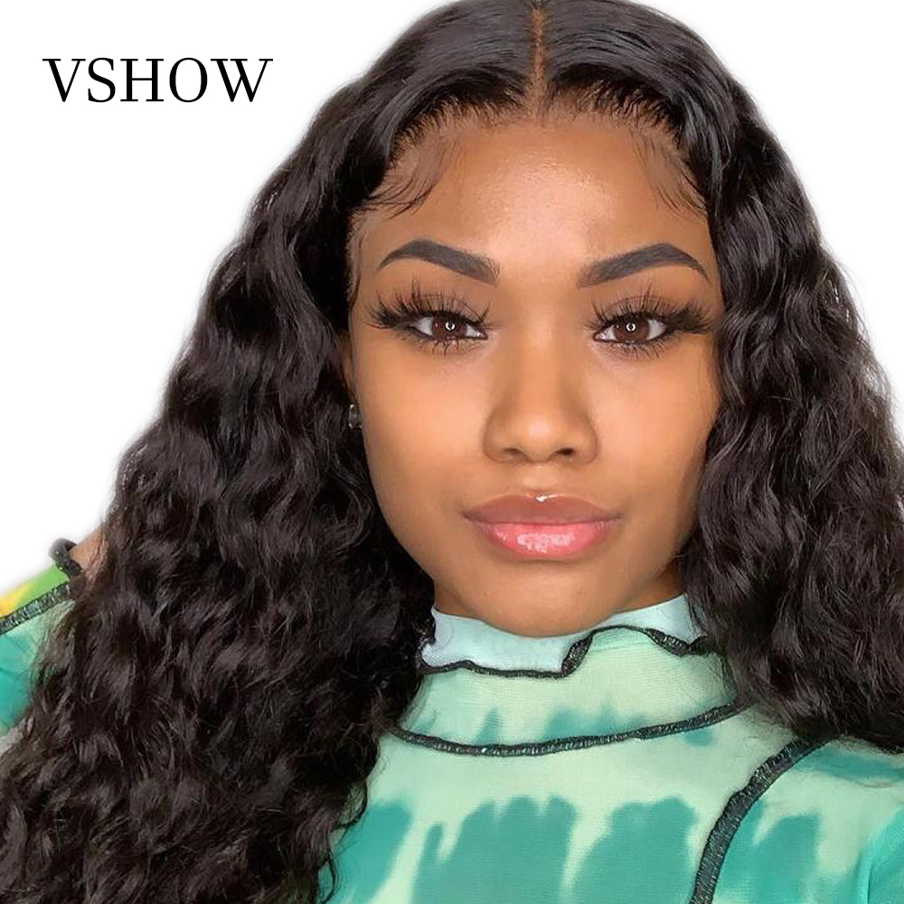 VSHOW 13x4 Malaysian Deep Wave Lace Front Wig With Baby Hair Natural Black 150% Density Remy Human Hair Wigs