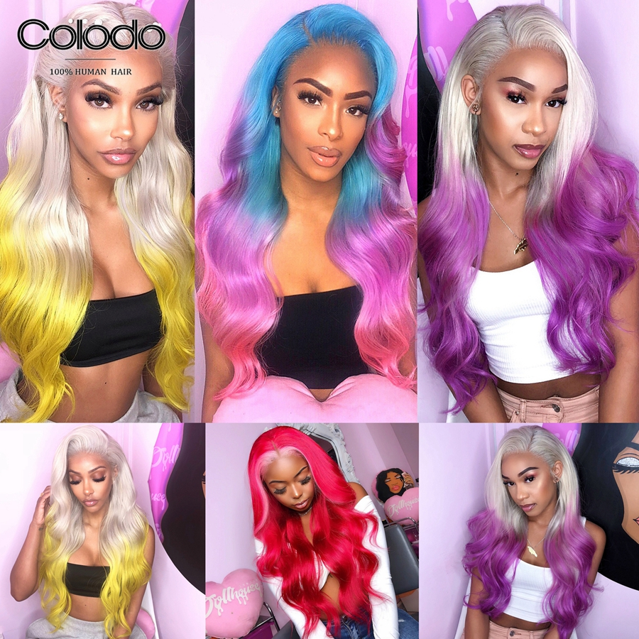 COLODO Pre Plucked Ombre Brazilian Lace Front Wavy Wig Pink Red Color Human Hair Wig Remy Hair Glueless Full Lace Wigs For Women