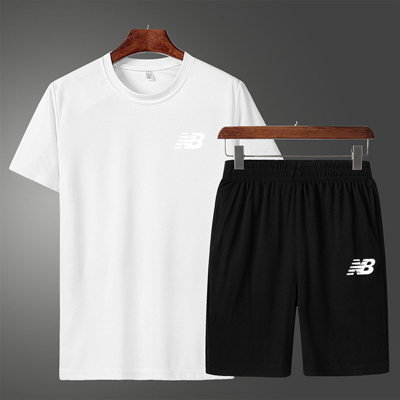 2021 sports suit men's running clothes gym summer two-piece quick-drying clothes casual short-sleeved shorts