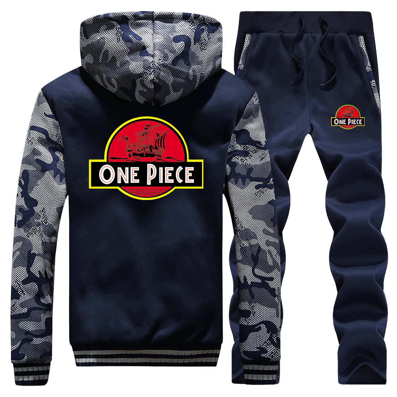 Winter 2019 New Camouflage Mens Japan Anime One Piece Cartoon Print Fashion Warm Sportswear Suit Coat Thick+Pants 2 Piece Set
