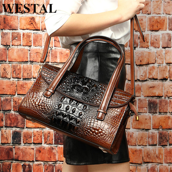 WESTAL handbags women's genuine leather alligator design women's leather handbags messenger/shoulder bags big handle-top bag