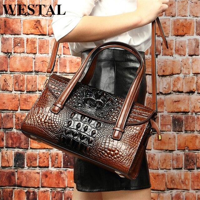 WESTAL กระเป๋าผู้หญิงของแท้หนังจระเข้สตรีกระเป๋าหนัง messenger/กระเป๋าไหล่ใหญ่ handle top กระเป๋า
