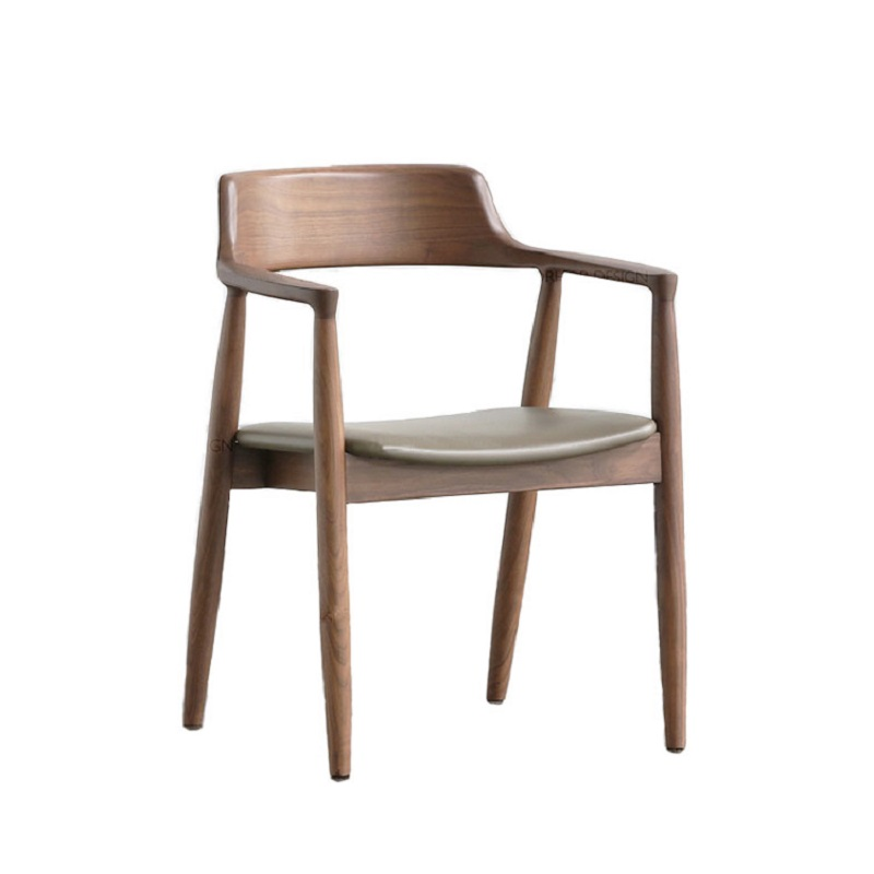 Nordic Solid Wood Dining Chair Kennedy President Chair Hiroshima Chair Tea Room Restaurant Meeting Negotiation Chair Back Armres