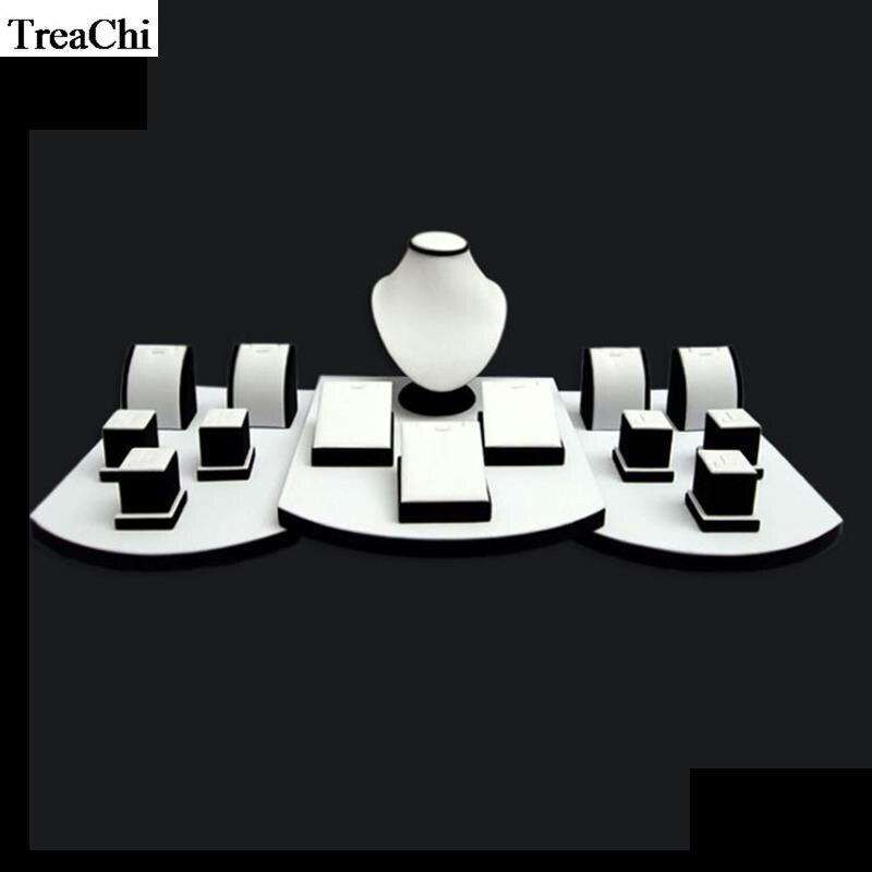 17 pièces/lot blanc PU noir velours bijoux compteur vitrine Kit collier boucle d'oreille pendentif anneau support pendentif buste fenêtre torse support