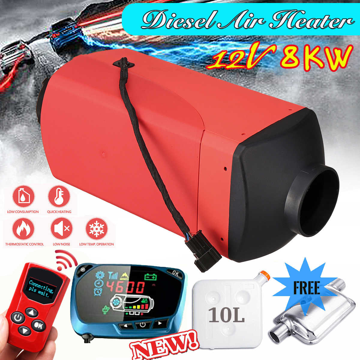 8KW 12V//24V Diesel Air Heating Remote Control Vehicle Heater Diesel Air Heater 4 Holes LCD Monitor Thermostat Air Auxiliary Heater Car Heater