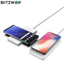 Blitzwolf 10w qi carregador sem fio para iphone 12 pro max galaxy s9 s8 borda nota 8 telefone rápido carregamento sem fio almofada docking statio