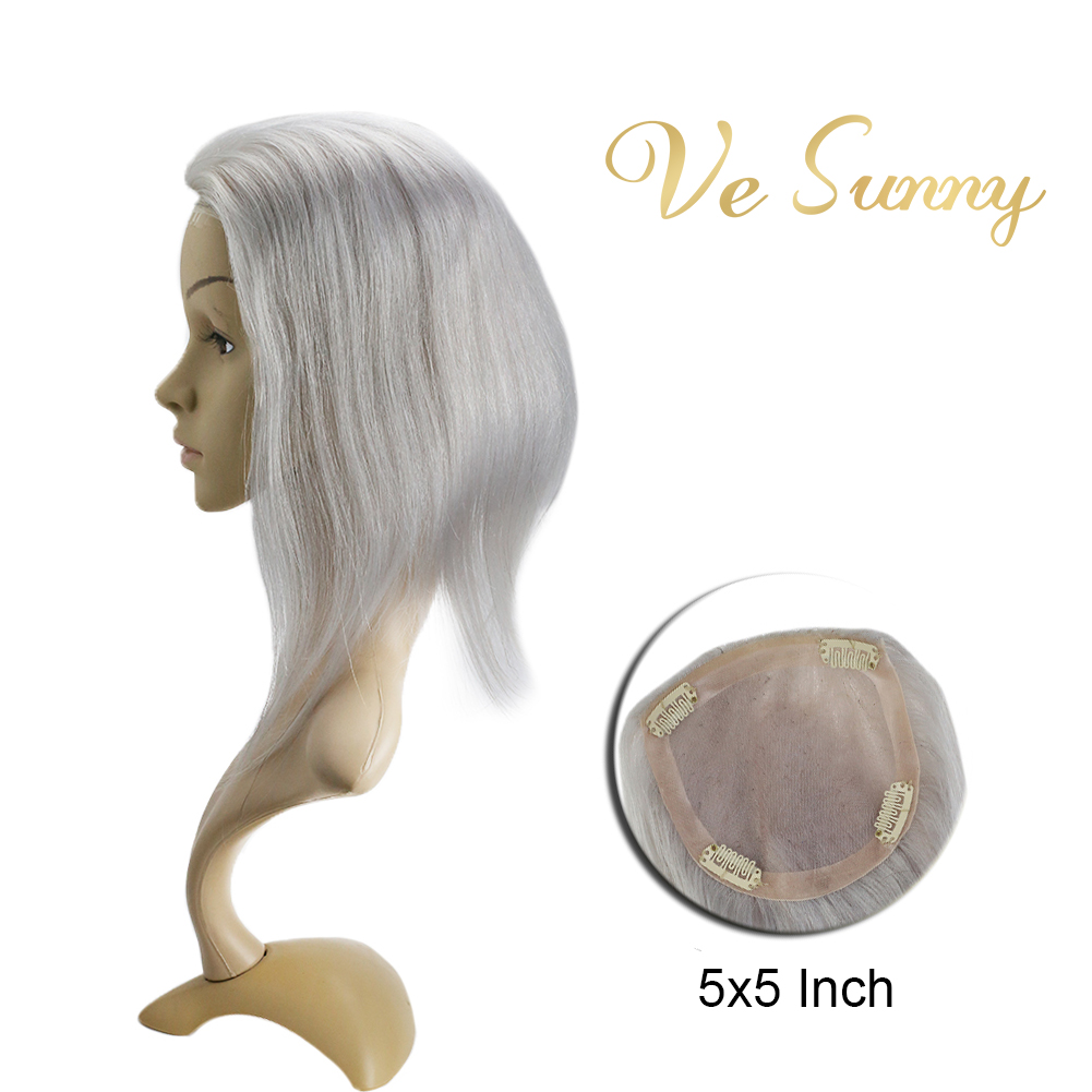 VeSunny Blonde Hairpiece Mono Base Topper Blonde Grey 100% Real Human Hair Crown Toupee With 4 Clips 5x5 Inches