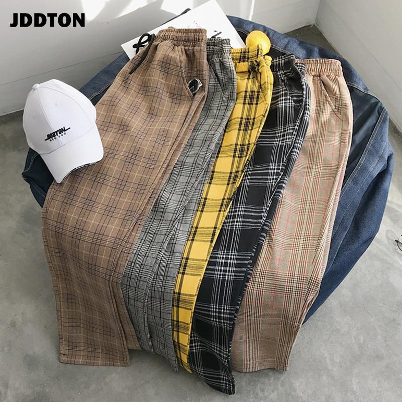 JDDTON Men's Loose Harajuku Plaid Pants Patchwork Sweatpant Harem Ankle Length Pants Casual Male KoreanTrouser Streetwear JE223