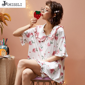 Pijamas de dibujos animados bonitos con estampado de flores para mujer de verano del 2020, pijamas de algodón para niñas, traje para casa, ropa de dormir, conjunto de pijamas para mujer