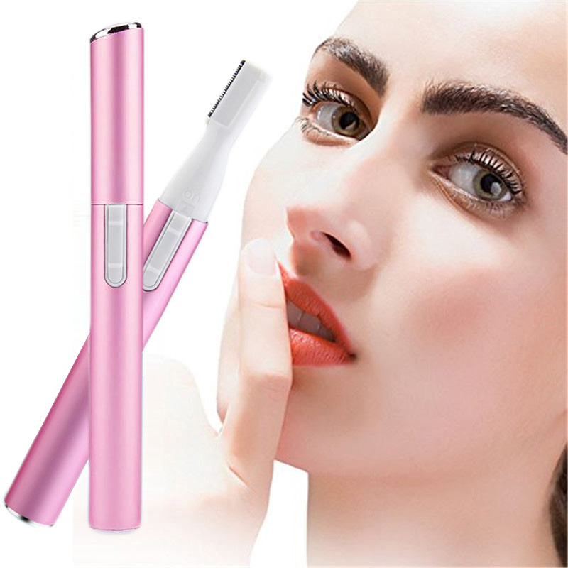 Mini Electric Eye Brow Hair Remover Women Facial Eyebrow Epilator Painless Portable Battery Lady Trimmer