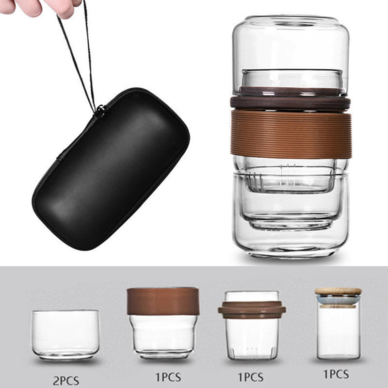 Travel Tea Set Kung Fu Tea Pot With Portable Case Glass Teacups With Infuser For Travel Home Tea Leaves Container Tea Cup Set
