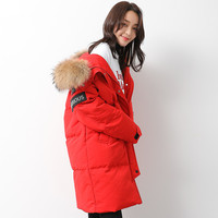 Down Jacket Woman Hooded Sport Parka Winter Coat Women Raccoon Fur Collar Long Coats Canada Style Parkas Mujer MY1530