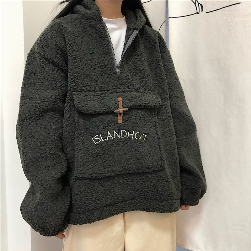 Kpop Clothes Sweatshirt Female Loose Korean Bf Plus Velvet Shirt Ins Dropshipping Hoodie Clothes Hoody Punk Vegan Vintage Top