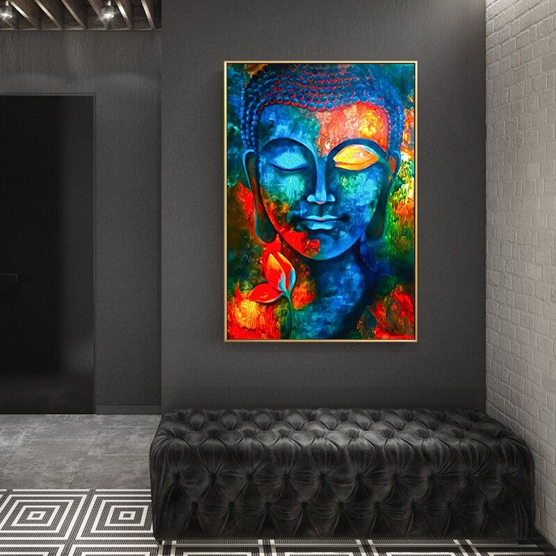 Budismo moderno posters e cópias da arte parede pintura da lona decoração da parede senhor buda imagens para sala de estar sem moldura