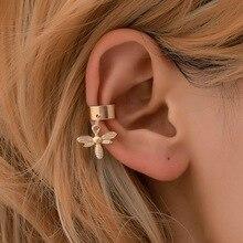 simple U-shaped earbone clip bee fashion  ear cuffs earrings charm rhinestone on