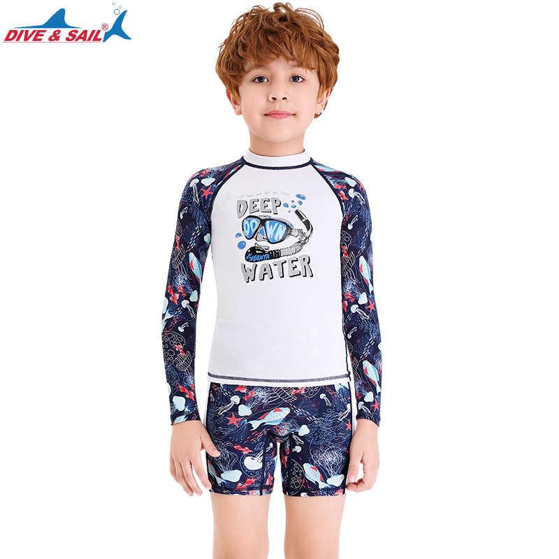 Kids Boys Two Piece Set Swimsuit UV Rash Guard Swimwear Bathing Suit Beachwear