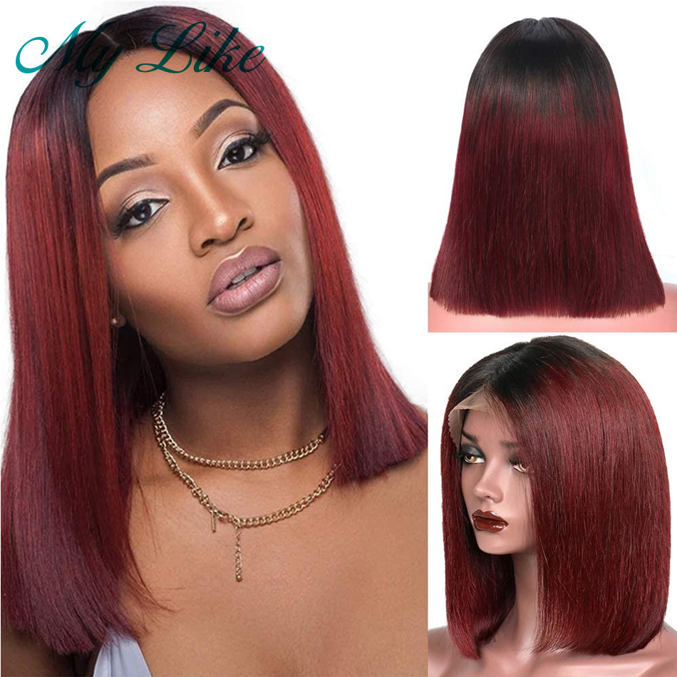 Ombre Bob Wigs 13x4 Straight Human Hair Wigs For Women Brazilian Remy Lace Front Human Hair Wigs 1b/99j Burgundy Short Lace Wigs