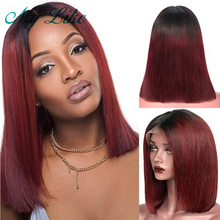 Ombre Bob Wigs 13x4 Straight Human Hair for Women Brazilian Remy Lace Front 1b/99j Burgundy Short