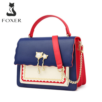 FOXER England Style Girl's Fashion Messenger Bag Women Split Leather Flap Crossbody Bags Feamle Stylish High Quality Lady Totes