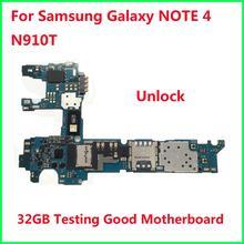 מקורי סמארטפון ראשי האם החלפה עבור Samsung Galaxy הערה 4 N910T בדיקות טוב נקי Imei 32GB