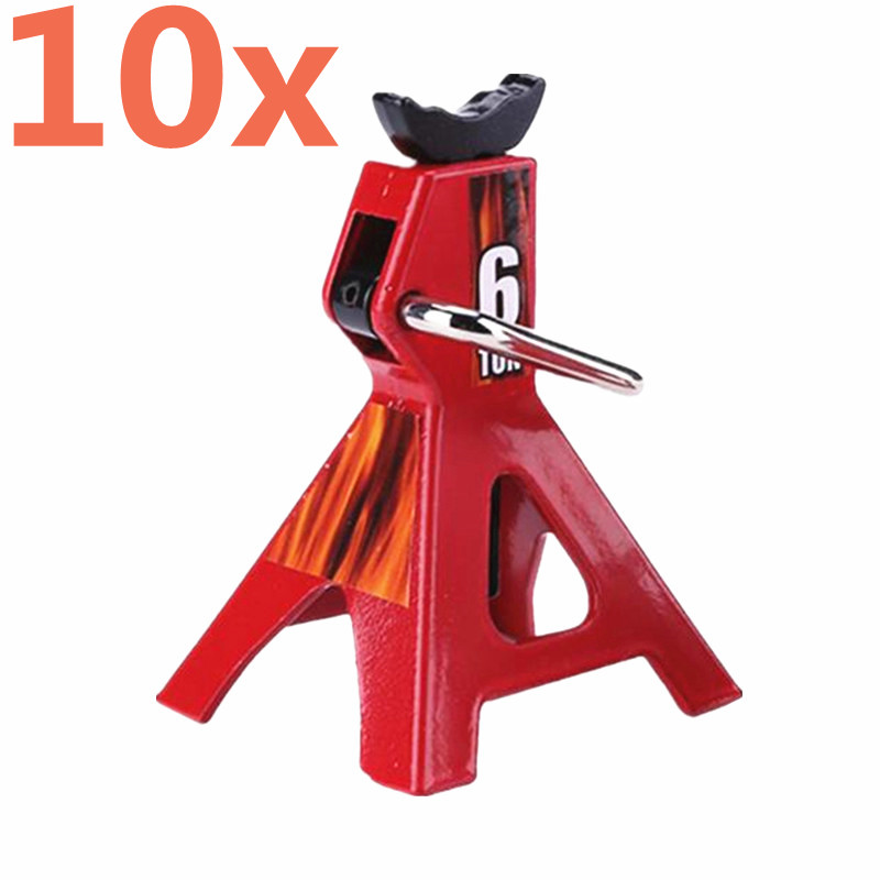 10Pcs RC Cars Steel 6 Ton Scale Axle Stand Lift Capacity Stand Heavy Duty Support Vehicle Floor Ratchet Jack TRX4 D90 CC01 Truck