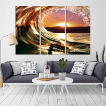 The Waves with the Sunrise Canvas Print Wall Decor Canvas Painting 3 Piece Wall Pictures for Living Room Home Decoration