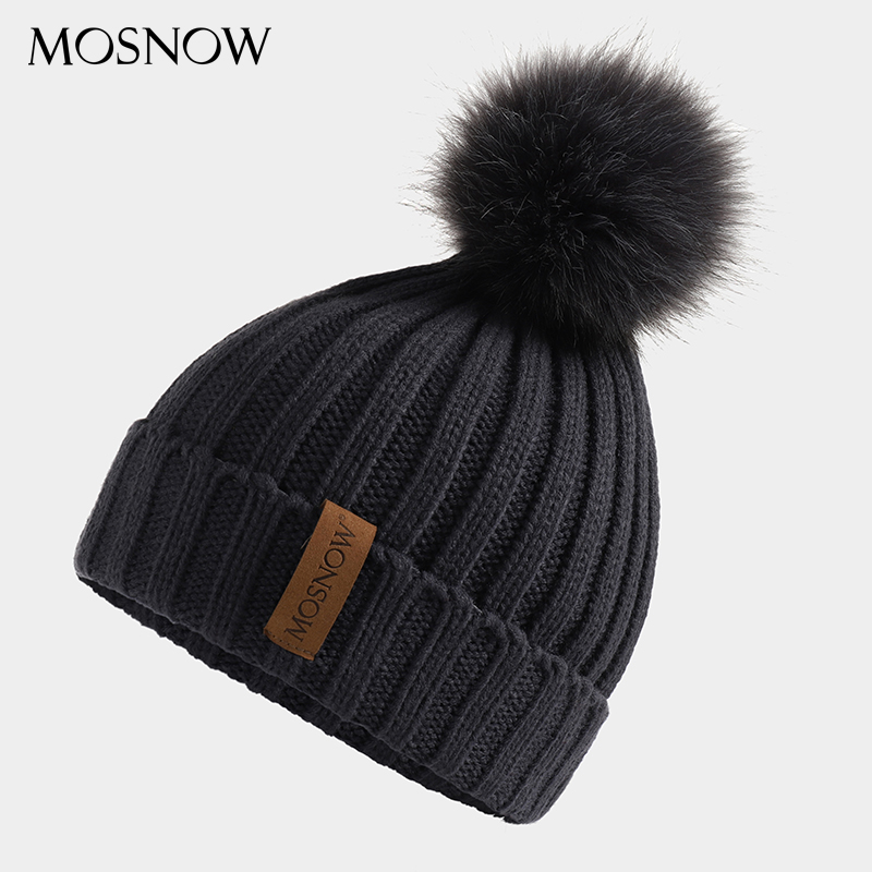2019 New Winter Women's Hat Acrylic Pompom Beanies Warmth Ski Cap Girl 's Hat Female Cap Skullie Artificial Pompons Fashion Hat
