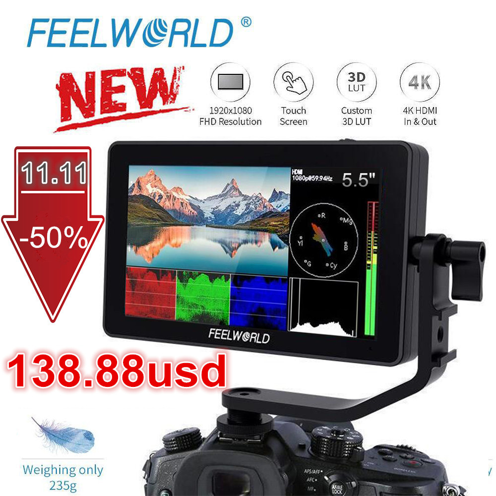 FEELWORLD F6PLUS 5 5 Inch IPS 3D LUT Touch Screen 4K HDMI Monitor Full HD 1920x1080 Camera Field Monitor for DSLR Video Movie