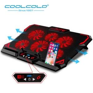 Image 1 - COOLCOLD 게임용 노트북 쿨러 노트북 냉각 패드 6 사일런트 레드/블루 LED 팬 강력한 공기 흐름 휴대용 조절 식 노트북 스탠드
