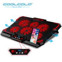 COOLCOLD Gaming refroidisseur d'ordinateur Portable ordinateur Portable tapis de refroidissement 6 silencieux rouge/bleu LED ventilateurs puissant débit d'air Portable réglable support d'ordinateur Portable