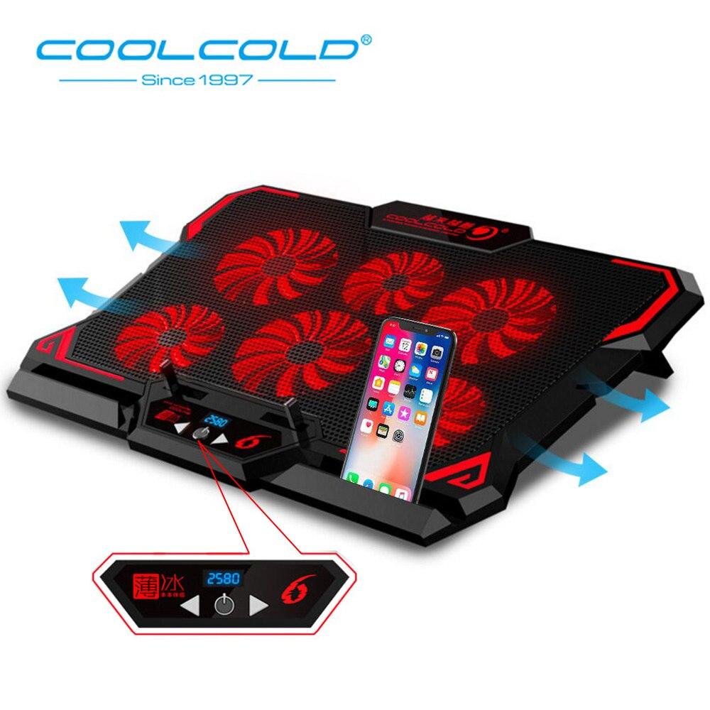 Coolcold computador portátil do jogo cooler notebook almofada de resfriamento 6 silencioso vermelho/azul led ventiladores poderoso fluxo ar portátil ajustável portátil suporte do portátil