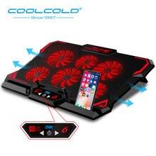 Coolcoldノートpcクーラーノートブック冷却パッド6サイレント赤/青色ledファン強力なエアフローポータブル調節可能なラップトップスタンド