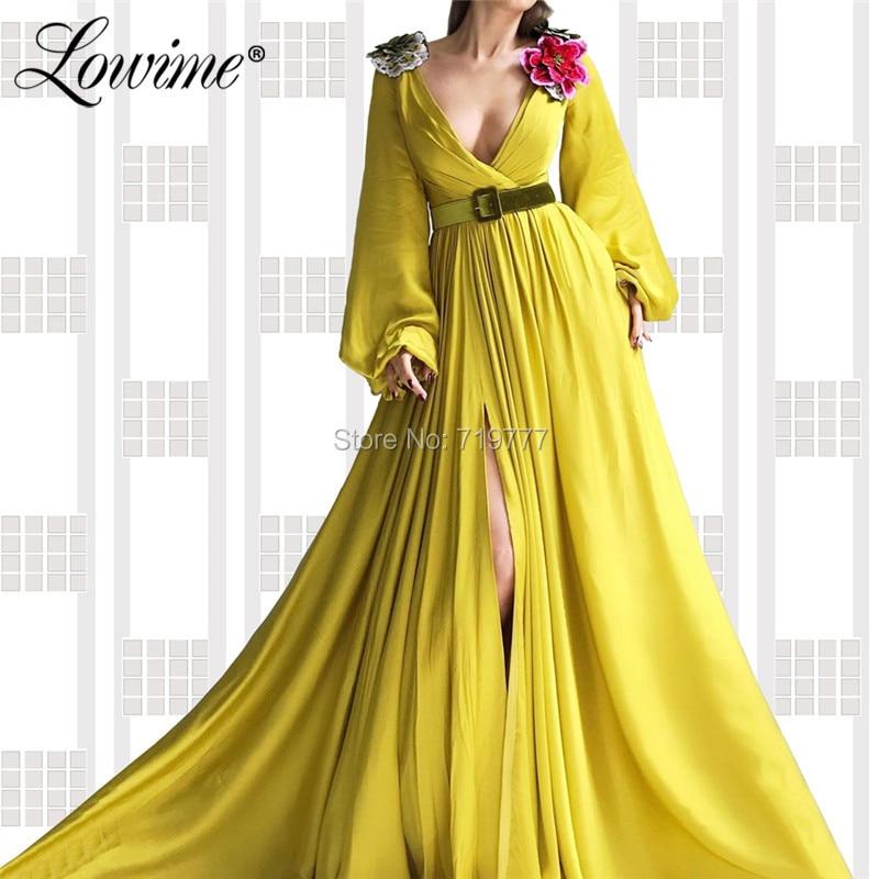 Embroidery Applique V Neck   Prom     Dresses   High Split Side Long Sleeves Evening Party   Dress   2019 Couture Vestido De Festa Longo