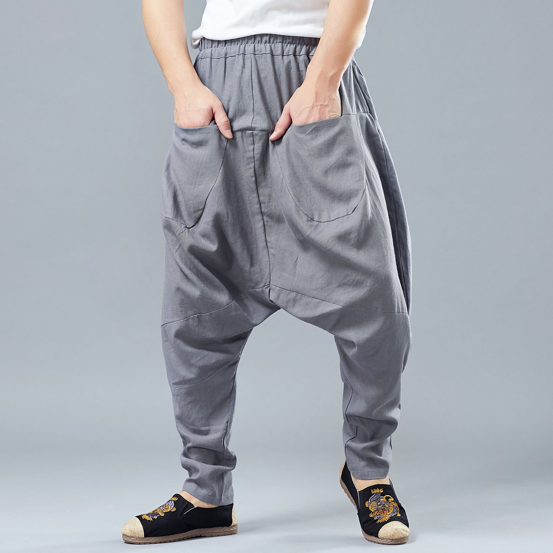 Spring Men Casual Baggy Sweatpant Linen Harem Loose Wide Leg Crotch Pant Bloomers Casual Jogger Running Workout Track Yoga Pant in Yoga Pants from Sports Entertainment