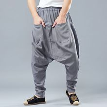 Spring Men Casual Baggy Sweatpant Linen Harem Loose Wide Leg Crotch Pant Bloomers Jogger Running Workout Track Yoga