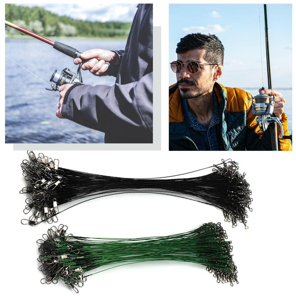 20 adet 15/20/25/30cm paslanmaz çelik tel lideri balıkçılık tasma döner 50LB Anti-bite hattı Leadcore için cazibesi aksesuarları