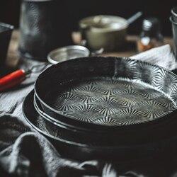 Starlight seria Retro metalowa płytka taca Vintage zastawa stołowa płyta do pieczenia dekoracji żywności fotografia rekwizyty|Akcesoria do studia fotograficznego|   -