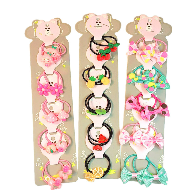 1Set Lovely Cartoon Fruits Bow Knot Children's Series Ponytail Elastic Hair Bands Sweet Girls Hair Accessories HeadWear