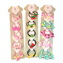 1Set lovely Cartoon Fruits Bow knot Children's series Ponytail Elastic Hair Bands Sweet Girls Accessories HeadWear