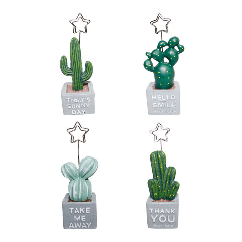 Korea Desktop Cute Cactus Styling Resin Plant Photo Folder Creative Message Postcard Clip Holder