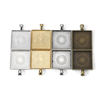 5pcs/lot Zinc Alloy Gold Plated Square Cabochons Bases Settings 25mm Pendant Bezel Trays For DIY Jewelry Making Supplies