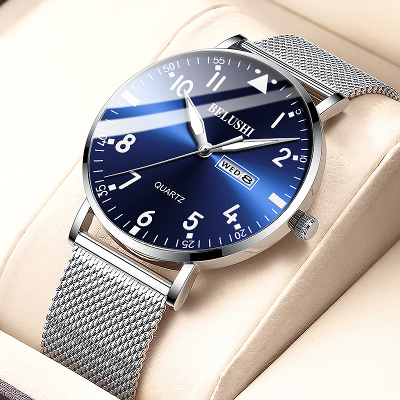 2020 New Fashion Ultra-thin Watch Men Top Luxury Brand Casual Men's Stainless Steel Mesh Strap Business Clock Men Wrist Watch