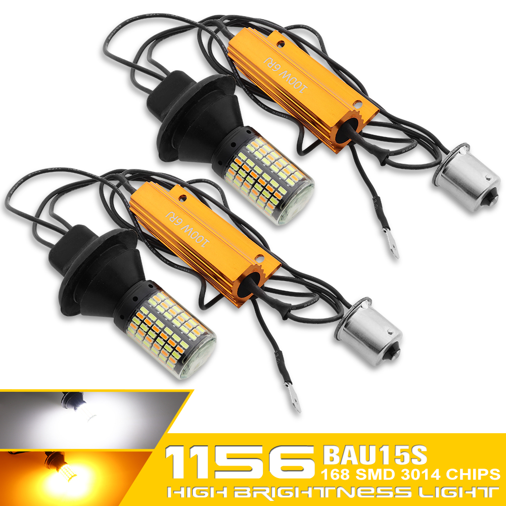 2Pcs 7440 <font><b>1156</b></font> BA15S BAU15S LED Bulb <font><b>Canbus</b></font> 168SMD Error Free <font><b>P21W</b></font> White Amber Double Color Lamp PY21W Car DRL Turn Signal Light image