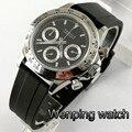 Мужские Роскошные часы PARNIS 39 мм черный циферблат сапфировое стекло резиновый ремешок полный хронограф многофункциональные кварцевые часы ...